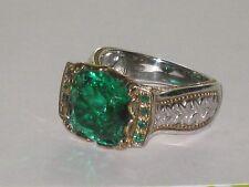 """Gems en Vogue Brazilian-Cut Quartz Doublet """"Ekaterina"""" Solitaire Ring Sterl&18k"""
