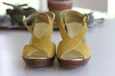 Cole Haan Nike Air Mustard Yellow Leather Suede Wedge Heels Size 8.5