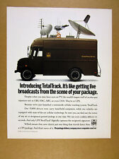 1993 UPS TotalTrack Cellular Tracking System brown truck antennas photo print Ad