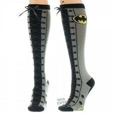 Batman Symbol Faux Lace Up Knee High Socks Licensed DC Comics