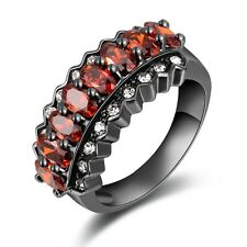 Womens Size 8 Fashion Solitaire Garnet 18K Black Gold Filled Engagement Ring