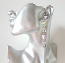 GORGEOUS Long silver tone & AB diamante - crystal chandelier drop earrings  #104
