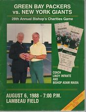 Green Bay Packers Gameday Program August 6 1988 vs Giants Lindy Infante on Cover