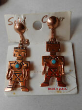 Vintage Copper Bell Trading Co Turquoise Kachina Earrings