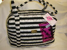NWT LUV BETSEY JOHNSON LB Playy Weekender Diaper Bag Tote Black White Stripe $88
