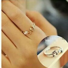 Cute Musical Note Adjustable Openings Imitation Rhinestone Silver Plated Rings