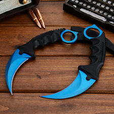 Blue Karambit Doppler Csgo Knife Go Cs Fixed Blade Counter Strike Combat Knife