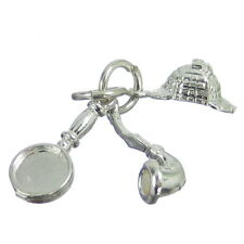 Sherlock Holmes 3 part sterling silver charm .925 Homes Detective charms CE993