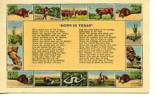 Down in Texas Poem-Typical Animals-Oil Well-Cattle-1940 Vintage Linen Postcard