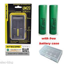 NITECORE UM20 USB Digi charger D2 i2 + Two Samsung 2500mAh 18650 Li-ion Battery