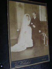 Old cabinet photograph wedding bride and groom by Wolschek Vienna Austria c1900s