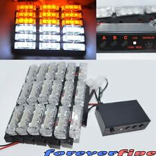 54 Amber/White LED Emergency Hazard Warning Strobe Flashing Light New 12V