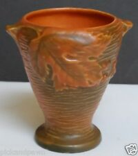 "Vintage 1940's Roseville Bushberry 28-4"" Orange Green Brown Vase with Handles"