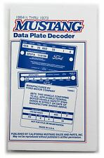 Mustang Data Plate Decoder Book  64 1965 1966 67 68 69 70 71 72 73
