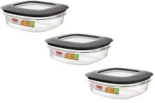 LOT OF 3 RUBBERMAID PREMIER FOOD STORAGE CONTAINER, 3-CUP, GRAY