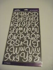 Scrapbooking Crafts Stickers Sticko Glitter Script Alphabet White Large Small