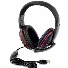 USB 2.0 Leather Wired Gaming Headset Headphone with Microphone for PS3 PC US