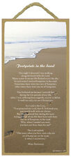 "FOOTPRINTS IN THE SAND Primitive Wood Hanging Sign 5"" x 10"""