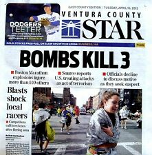 Boston Marathon Bombings Newspaper Ventura County Star 4/16/2013 Bomb Terrorists