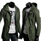 WINTER Mens Hooded Trench Coat Slim Fit Casual Long Jacket Windbreaker Outerwear