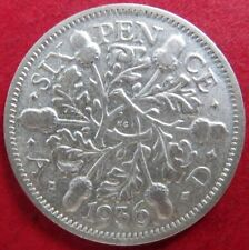 "1936 Vintage U.K. SIX PENCE SILVER COIN, King George V ""AU"" Condition, NICE COIN"