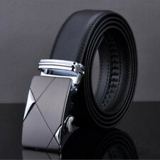 Mens Black Dress Fashion Leather Belt with Auto Lock Stainless Steel Buckle LX11