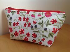 Liberty Print Handmade Make-up Bag, Mirabelle Fabric, Lined & Padded, Red Zip