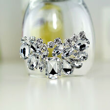 Pair Sparkling Acrylic Rhinestone Crystal Wedding Bridal Silver Tone Shoe Clips