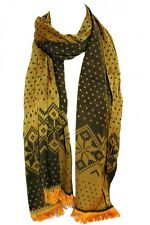 Yellow Brown Two Sided Reversible Aztec Pashmina Feel Warm Scarf Shawl Wrap