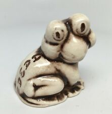 "Vintage Ceramic Ivory & Brown HAWAII FROG Figurine 1 3/4"" - Made in Hawaii"