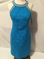 Nwt Laundry By Shelli Segal Turquoise Sequins White Womens Evening Dress Sz 4