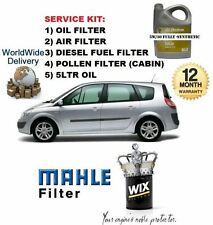 FOR RENAULT SCENIC 1.9 DCi 03-2009 5LTR OIL + OIL AIR FUEL POLLEN FILTER SET