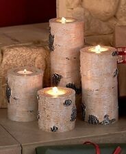 Set of 4 Woodland Tea Light Candle Holders Tree Stump Birch Wood Look Rustic
