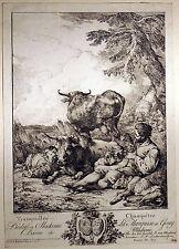 IDYLLE SCHÄFERSZENE von Loutherbourg Kupferstich um 1767 - schönes Original