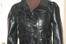 BLACK Faux Leather Vegan PVC PU JACKET uk10 eu38 us6/8 Chest c34ins c86cms