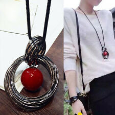 Stylish Circle Red Pearl Pendant Statement Long Chain Sweater Necklace Jewelry