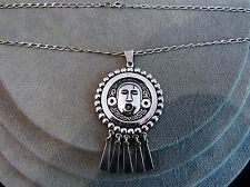 """Heavy Vintage Sterling Silver Mayan Face Pendant Necklace TM-52 Mexico 21"""""""