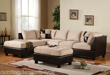 3PC Sectional Sofa Microsuede Faux Leather Beige with Ottoman Accent Pillows