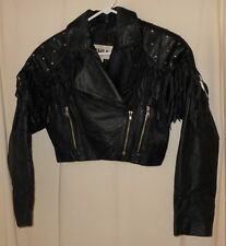 80'S FRINGE JACKET CHIA BLACK LEATHER STUDS DEEP V ROCKER CHIC METAL LADYS SMALL