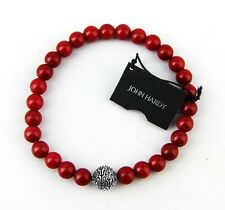 "JOHN HARDY STERLING SILVER BEDEG RED CORAL BEADS 8.5"" BRACELET NEW BOX 87B"