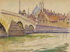 MEDIEVAL BRIDGE Watercolour Painting JOHN THIRTLE FRSA c1930