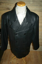 Mens M Authentic Leather Pea double breasted Jacket Coat  Black size Medium