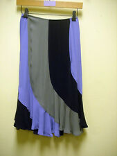 "YVES ST LAURENT Skirt RIVE GAUCHE Italy Purple Sage Black bias ruffled 24"" waist"