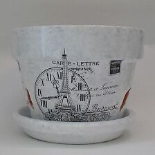 Handmade Decoupage Terra Cotta Clay Flower Pot, Orchid Pot, French, Eiffel Tower