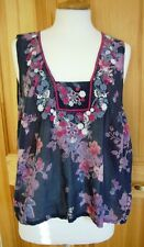 MONSOON size L navy blue embriodered 100% cotton sleeveless vest top