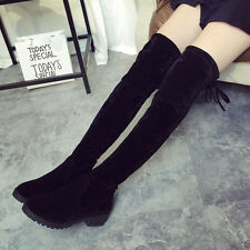 WOMENS LADIES FLAT LOW HEEL OVER THE KNEE HIGH STRETCH BLACK SUEDE BOOTS SIZE