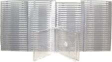 (100) CD2R10CL Double CD Jewel Boxes Cases SLIMLINE w Clear Tray Cases 2CD Disc