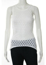 Intermix White Eyelet Knit Scoop Neck Tank Top Size Small $75