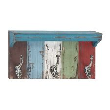 Wood and Metal Wall Shelf with Hooks  - Home Decor Accent