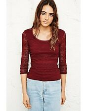 NEW Pins & Needles Lace Bodycon Top Burgandy Size Small Box1149 c